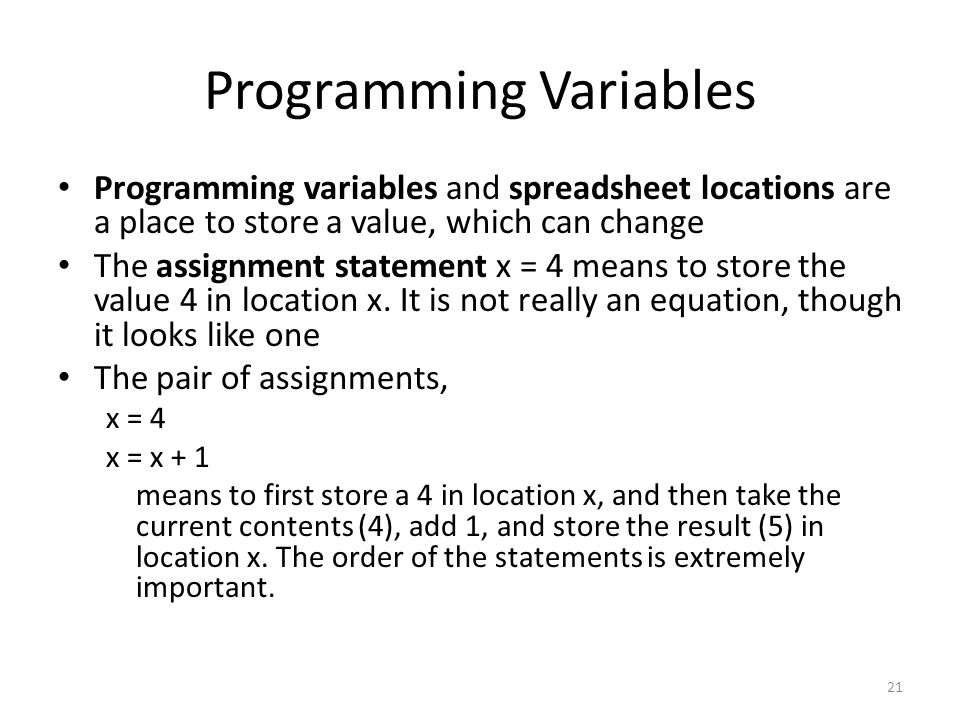 Programming Variables