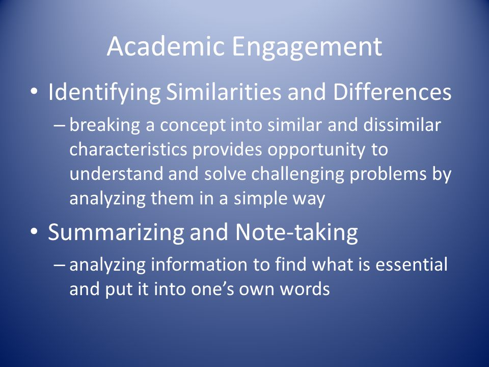 Academic Engagement Identifying Similarities and Differences