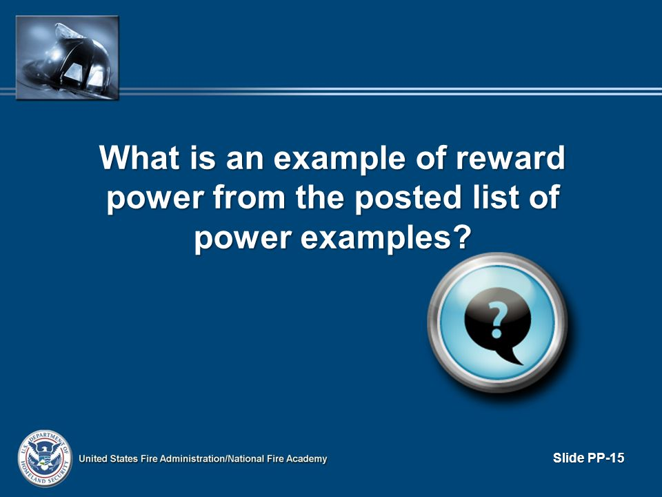 What is an example of reward power from the posted list of power examples