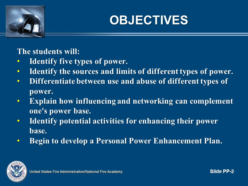 OBJECTIVES The students will: Identify five types of power.