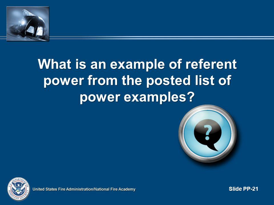 What is an example of referent power from the posted list of power examples