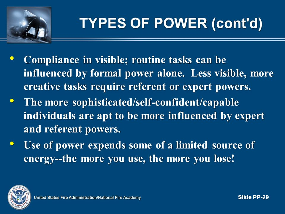 TYPES OF POWER (cont d)