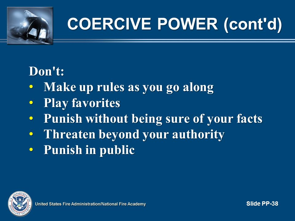 COERCIVE POWER (cont d)