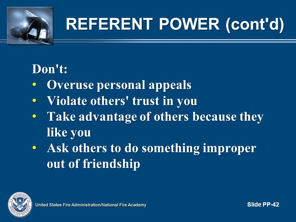 REFERENT POWER (cont d)