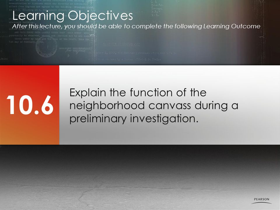 Learning Objectives After this lecture, you should be able to complete the following Learning Outcome.