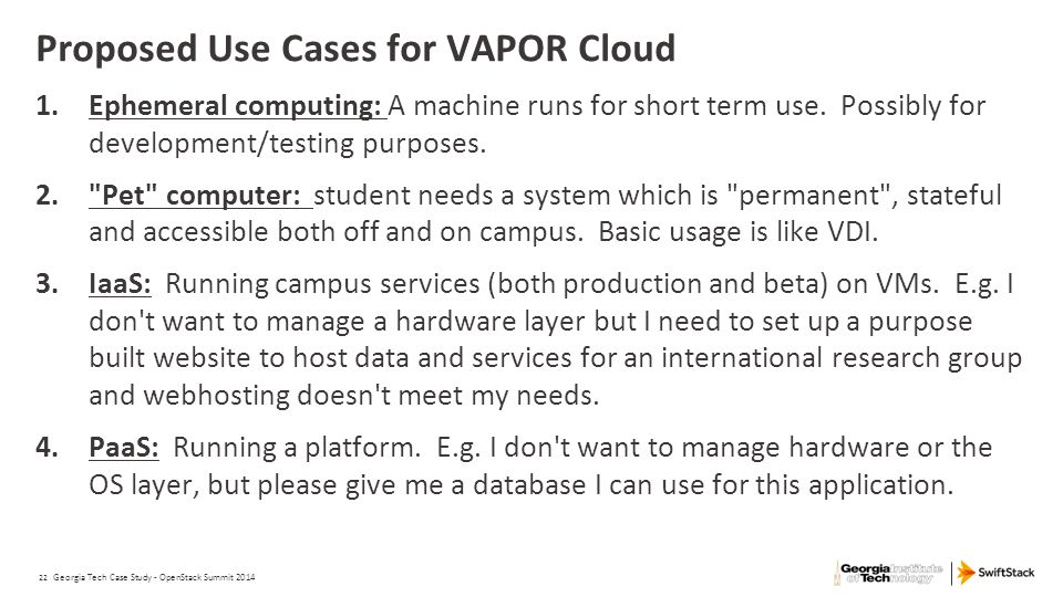 Proposed Use Cases for VAPOR Cloud