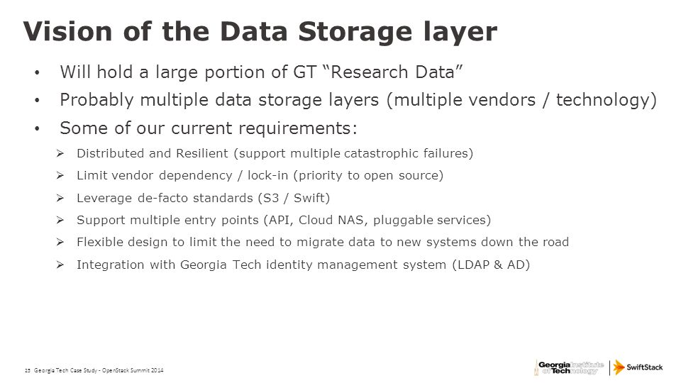 Vision of the Data Storage layer
