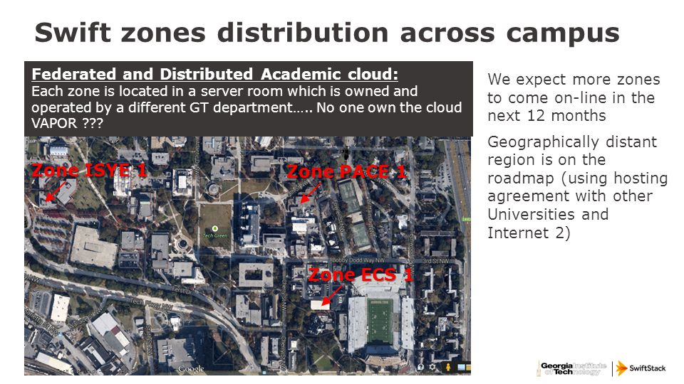 Swift zones distribution across campus