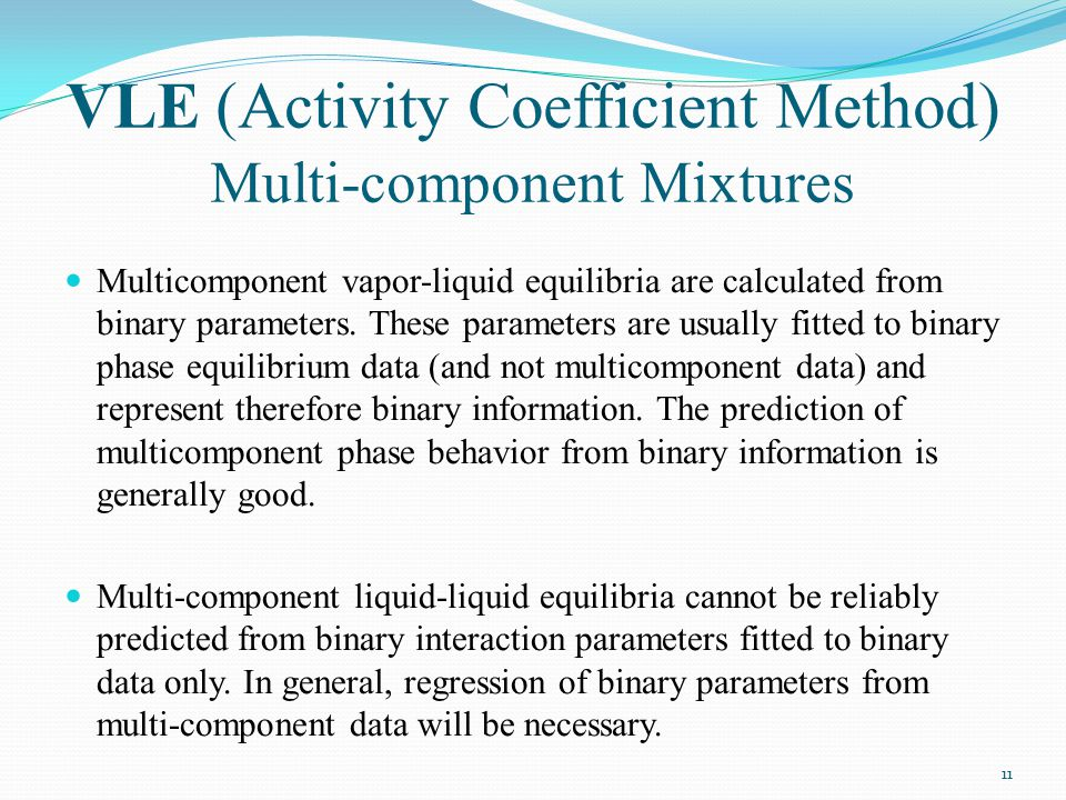 VLE (Activity Coefficient Method) Multi-component Mixtures