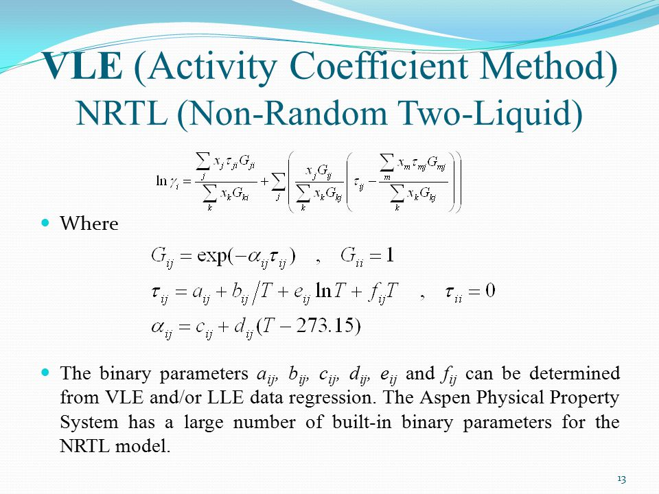 VLE (Activity Coefficient Method) NRTL (Non-Random Two-Liquid)