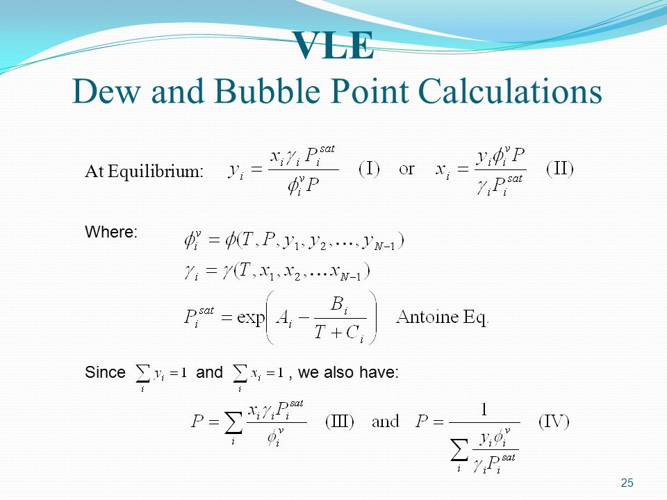 VLE Dew and Bubble Point Calculations