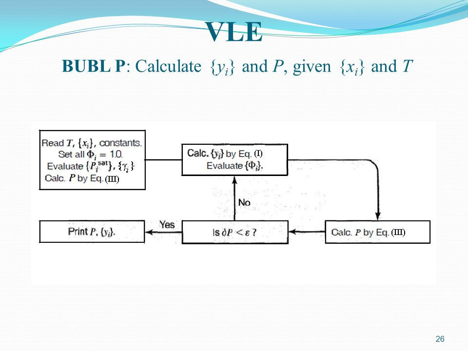 VLE BUBL P: Calculate {yi} and P, given {xi} and T