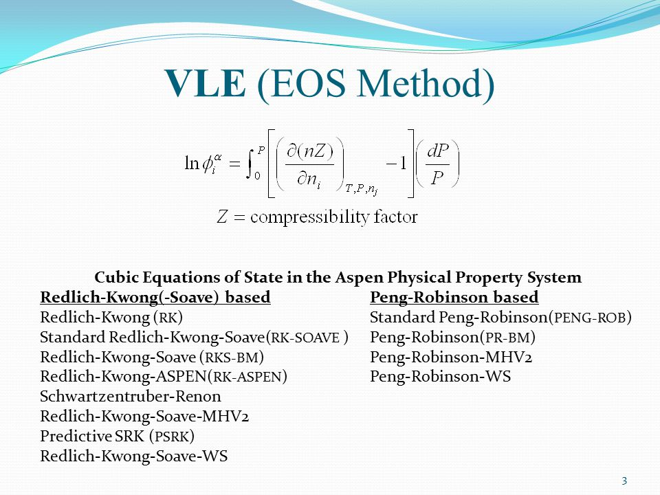Cubic Equations of State in the Aspen Physical Property System