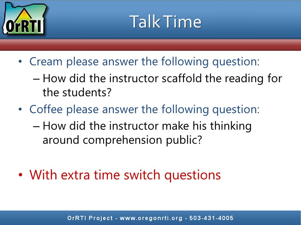 Talk Time With extra time switch questions