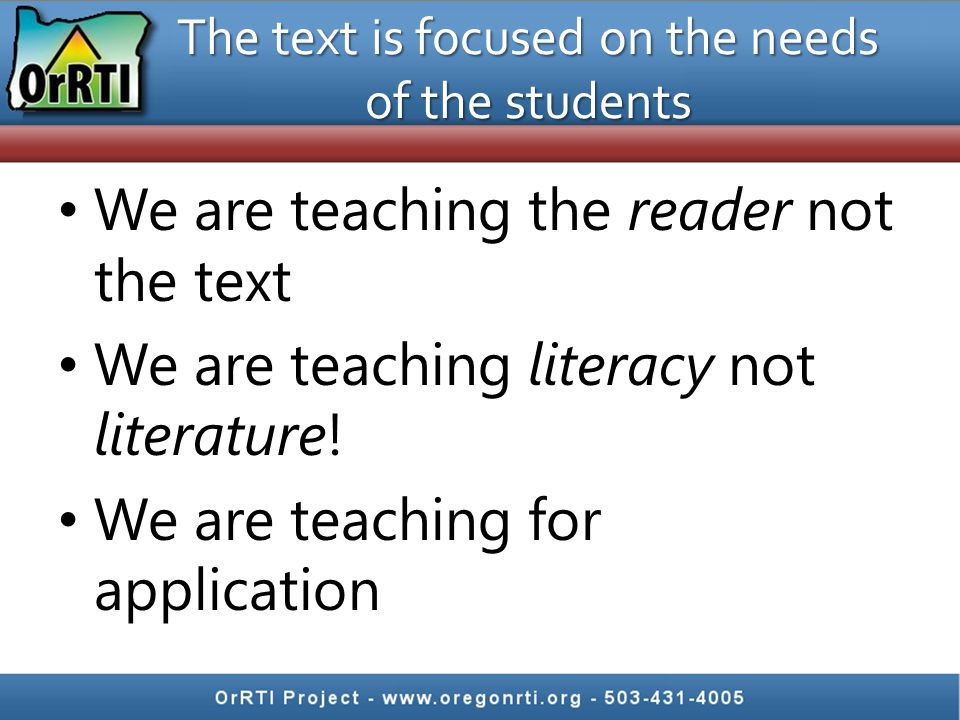 The text is focused on the needs of the students
