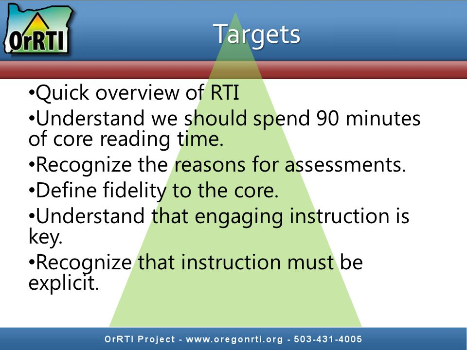 Targets Quick overview of RTI