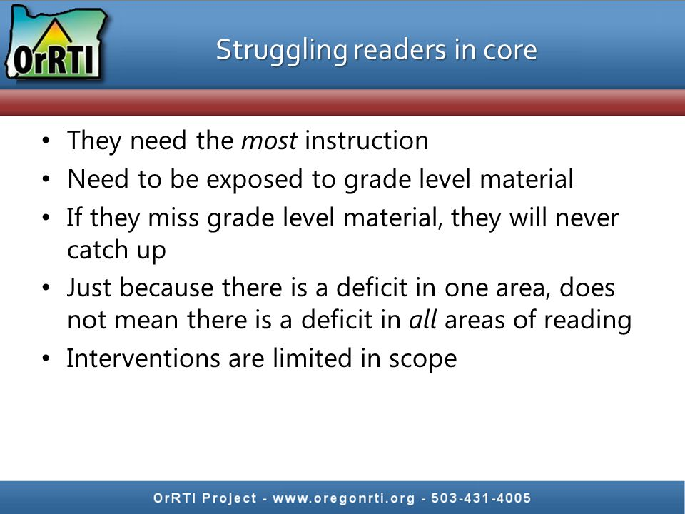 Struggling readers in core