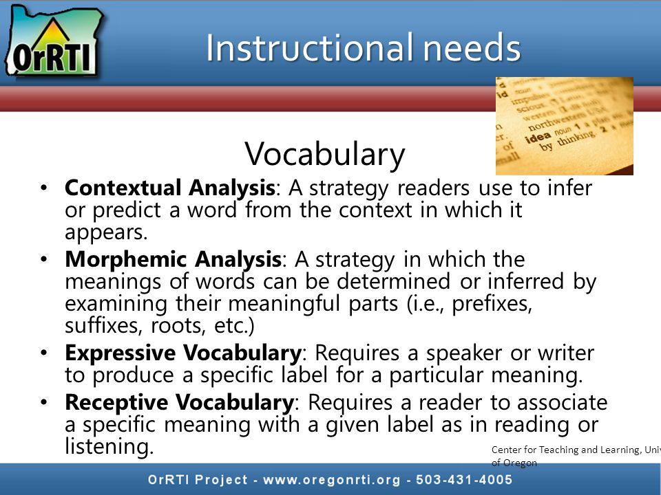Instructional needs Vocabulary
