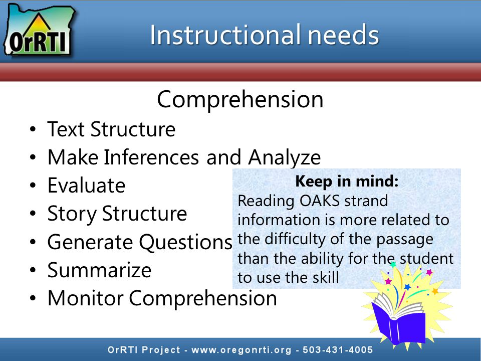 Instructional needs Comprehension Text Structure