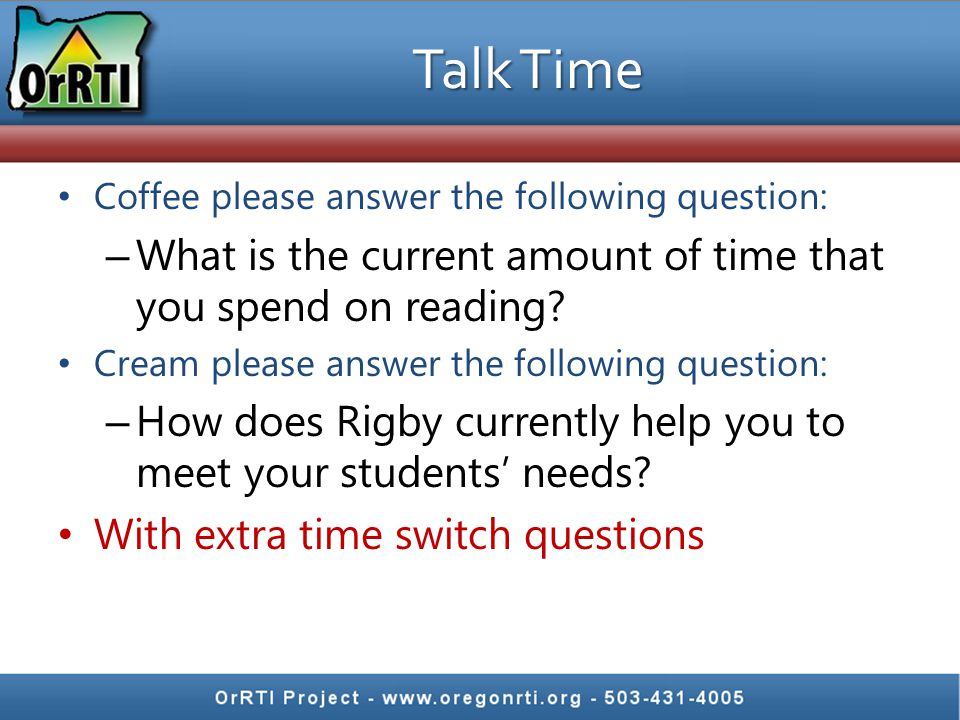 Talk Time Coffee please answer the following question: What is the current amount of time that you spend on reading