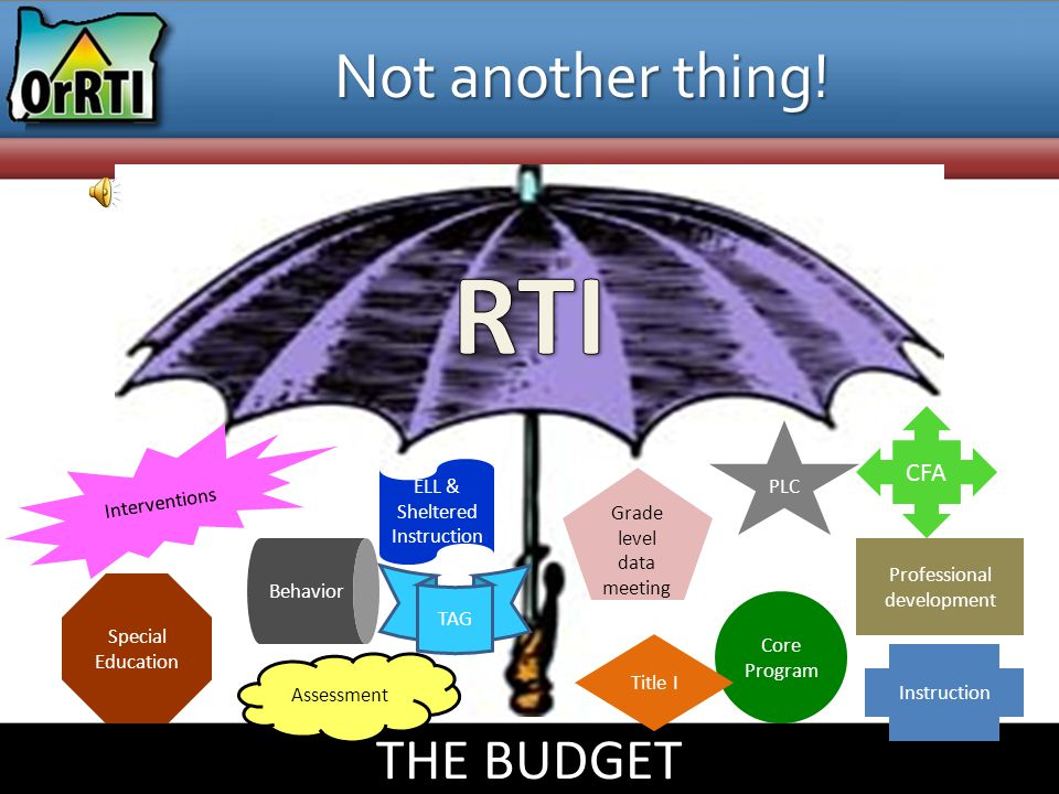 RTI Not another thing! THE BUDGET CFA PLC Interventions