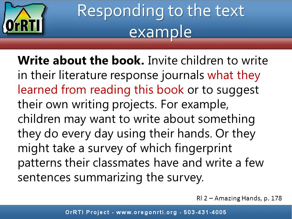 Responding to the text example