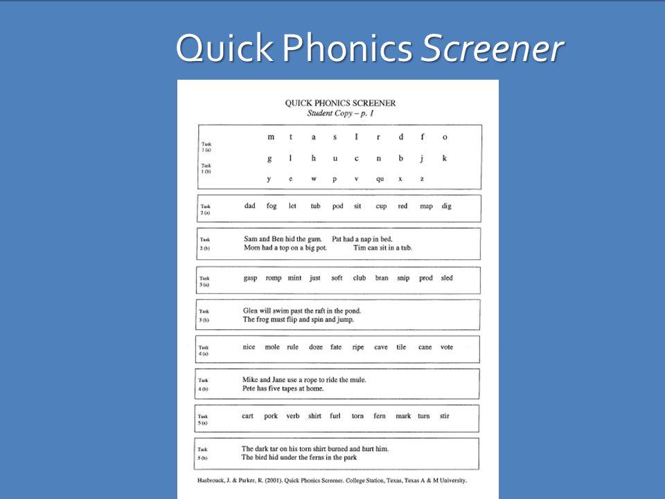 Quick Phonics Screener