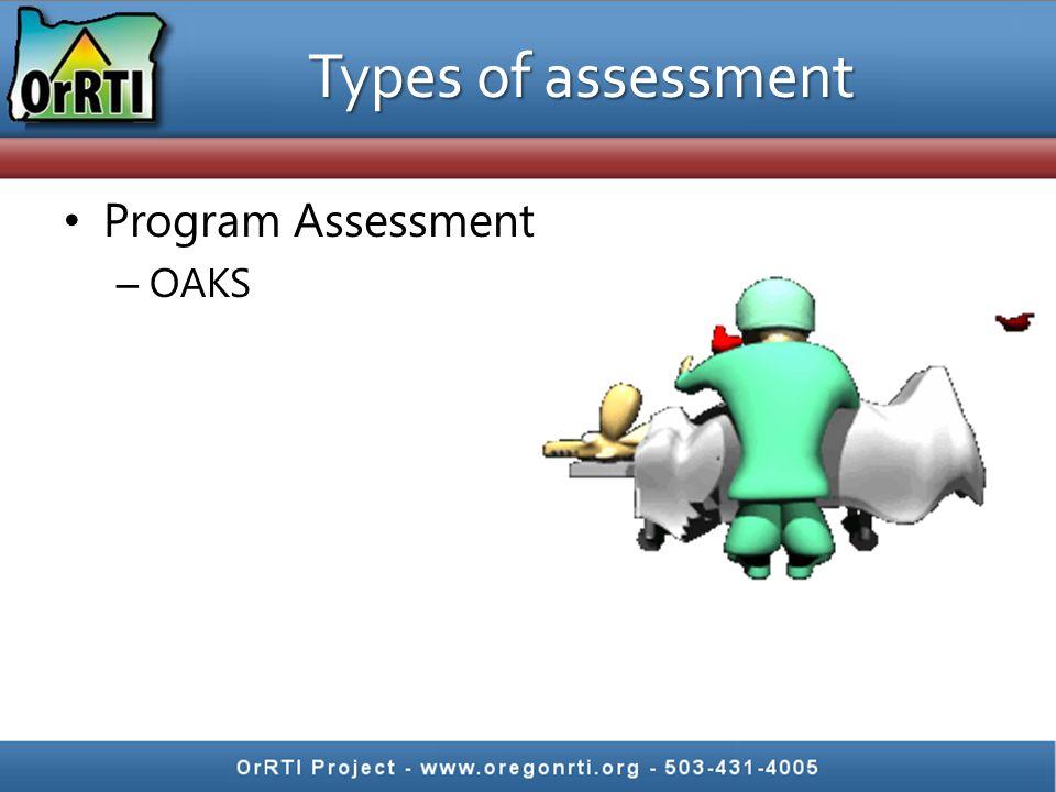 Types of assessment Program Assessment OAKS
