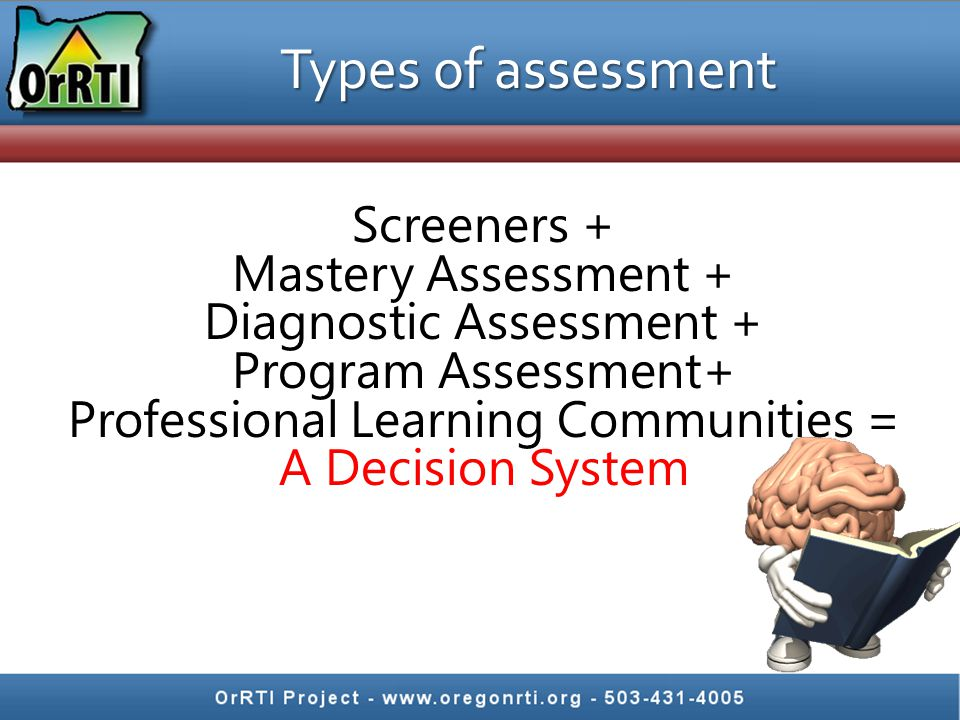 Types of assessment Screeners + Mastery Assessment +