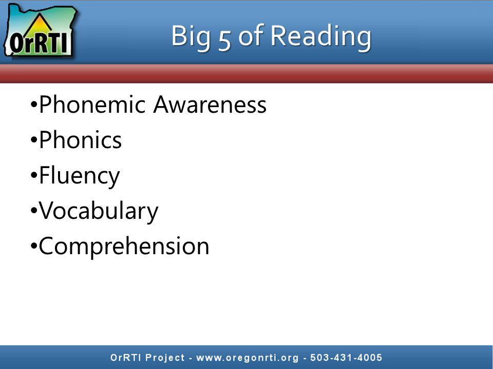 Big 5 of Reading Phonemic Awareness Phonics Fluency Vocabulary