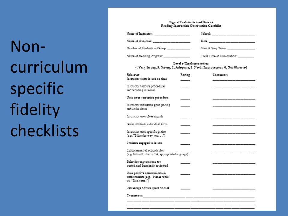 Non-curriculum specific fidelity checklists