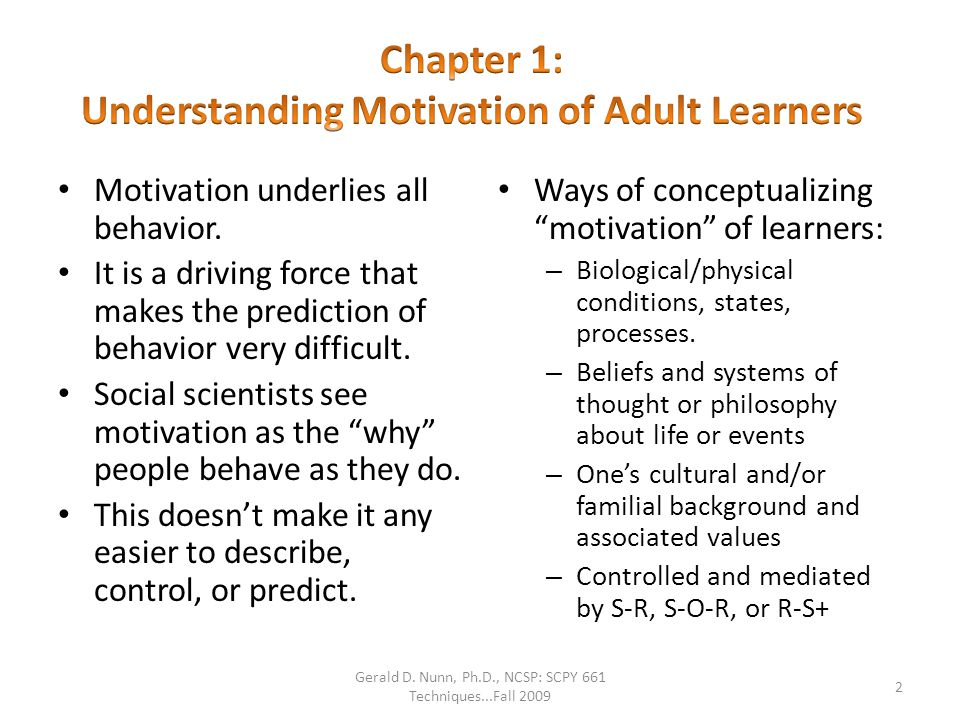 Chapter 1: Understanding Motivation of Adult Learners