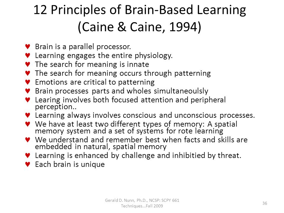 12 Principles of Brain-Based Learning (Caine & Caine, 1994)
