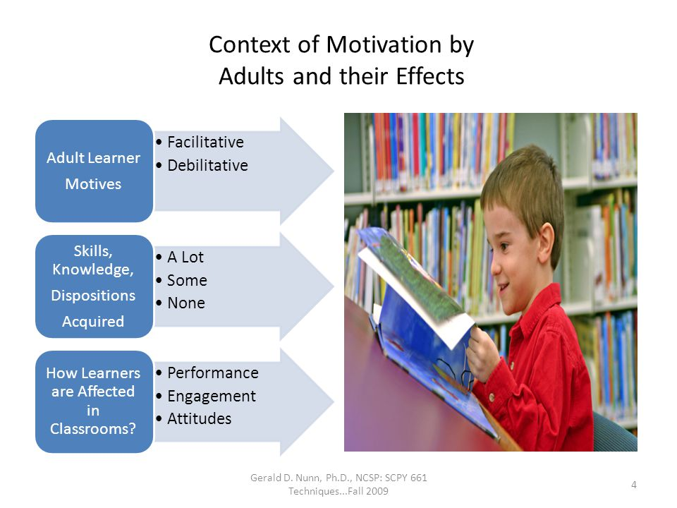 Context of Motivation by Adults and their Effects