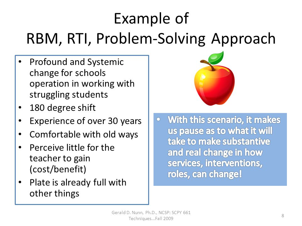 Example of RBM, RTI, Problem-Solving Approach
