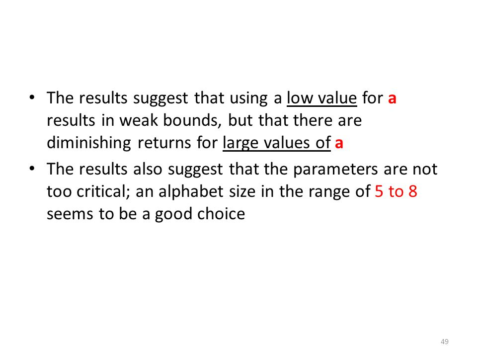 The results suggest that using a low value for a results in weak bounds, but that there are diminishing returns for large values of a