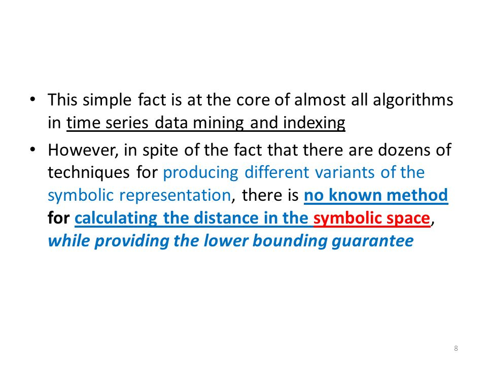 This simple fact is at the core of almost all algorithms in time series data mining and indexing