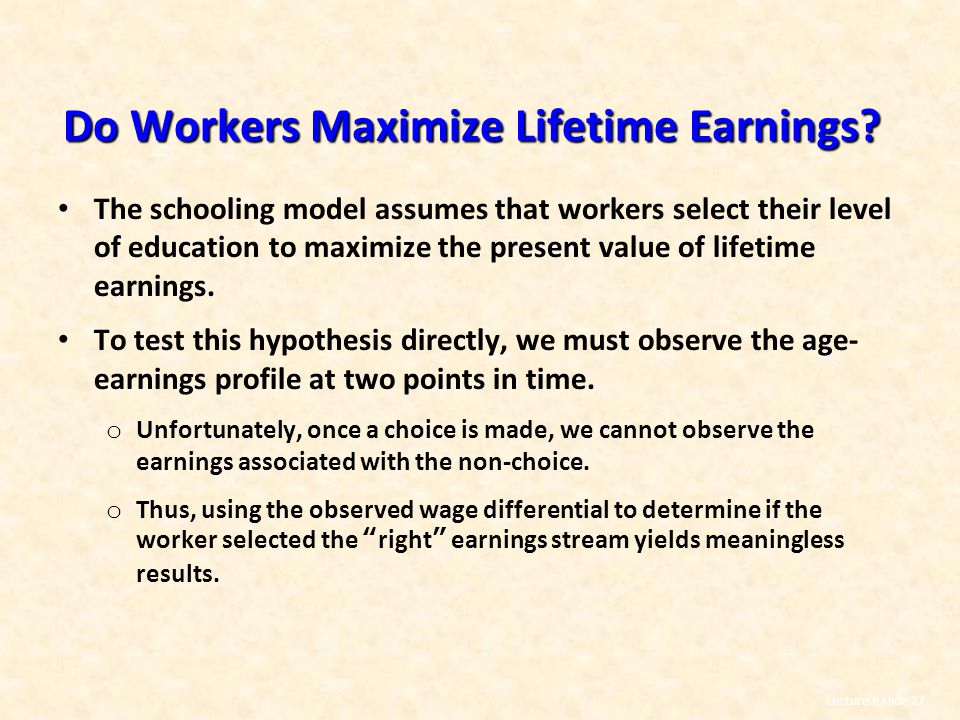 Do Workers Maximize Lifetime Earnings