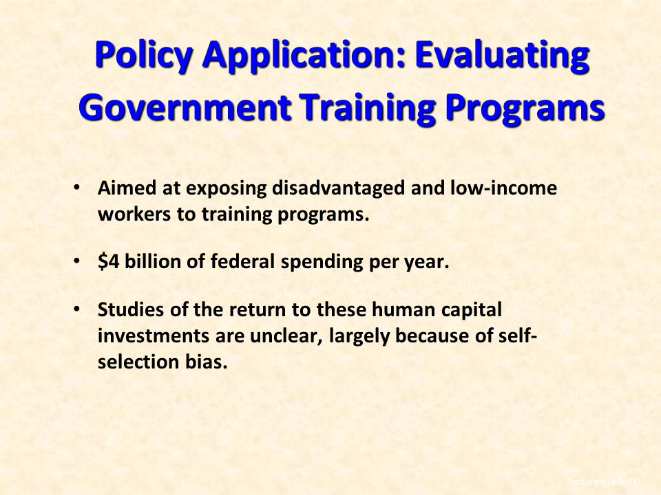Policy Application: Evaluating Government Training Programs