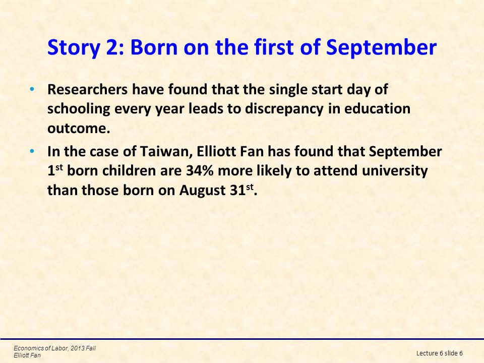 Story 2: Born on the first of September