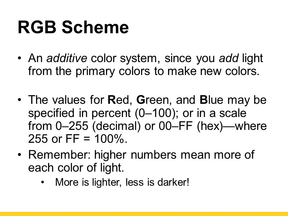 RGB Scheme An additive color system, since you add light from the primary colors to make new colors.