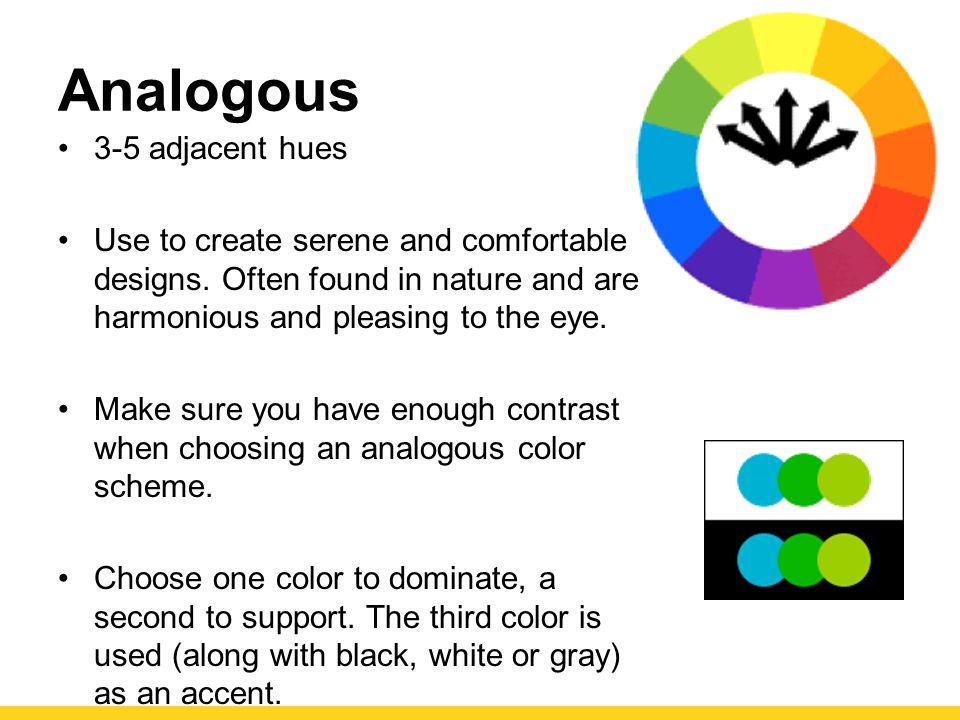 Analogous 3-5 adjacent hues