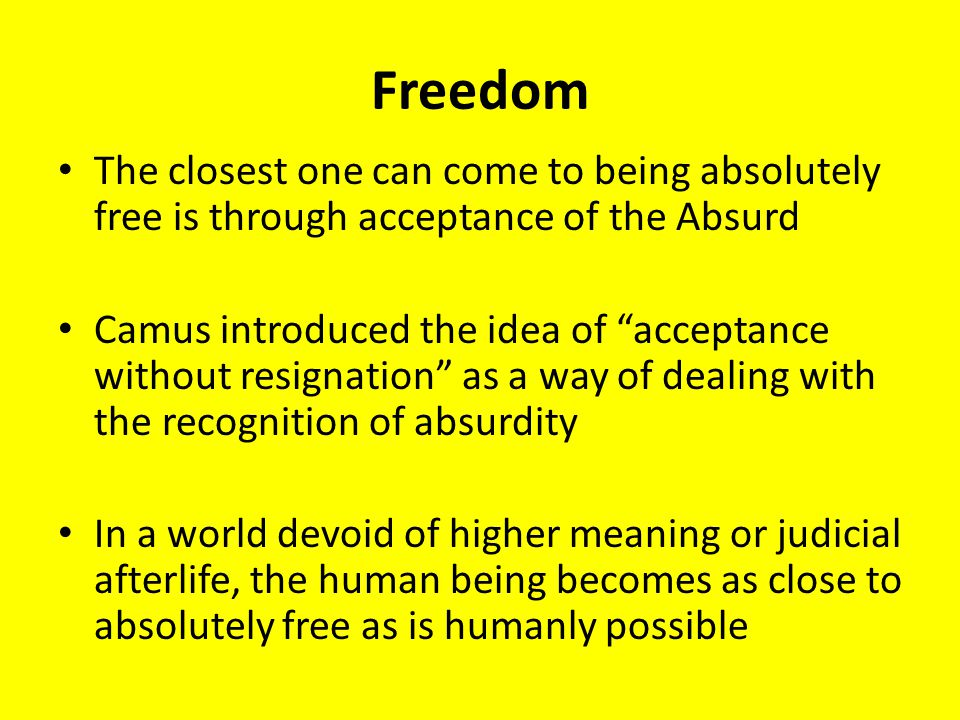 absurdity + camus + essay Absurdity basically means that the world is so full of nonsense that it is almost impossible to find any sort of meaning in life so therefore everything is meaningless camus use this as his own philosophy to understand why the world is the way it is.