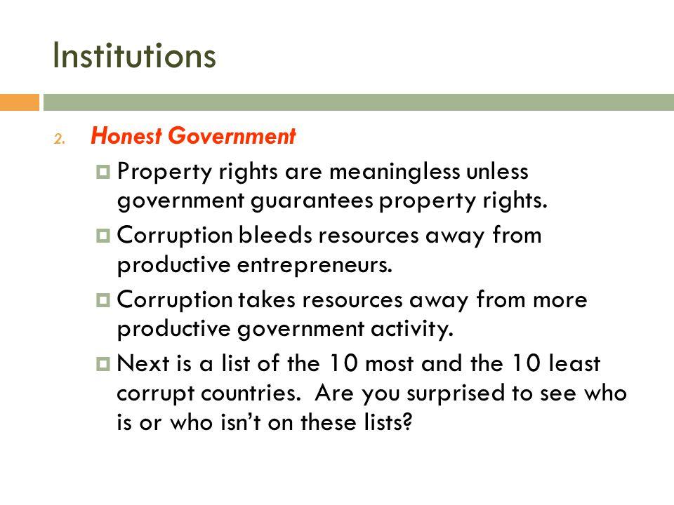 Institutions Honest Government