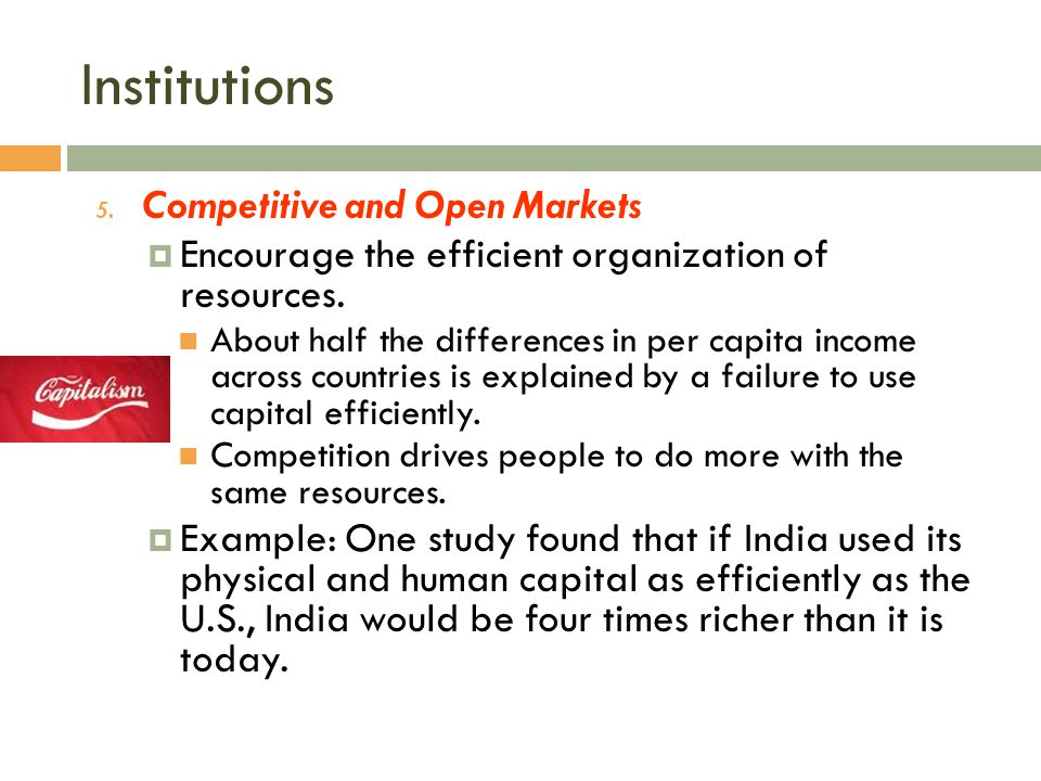 Institutions Competitive and Open Markets