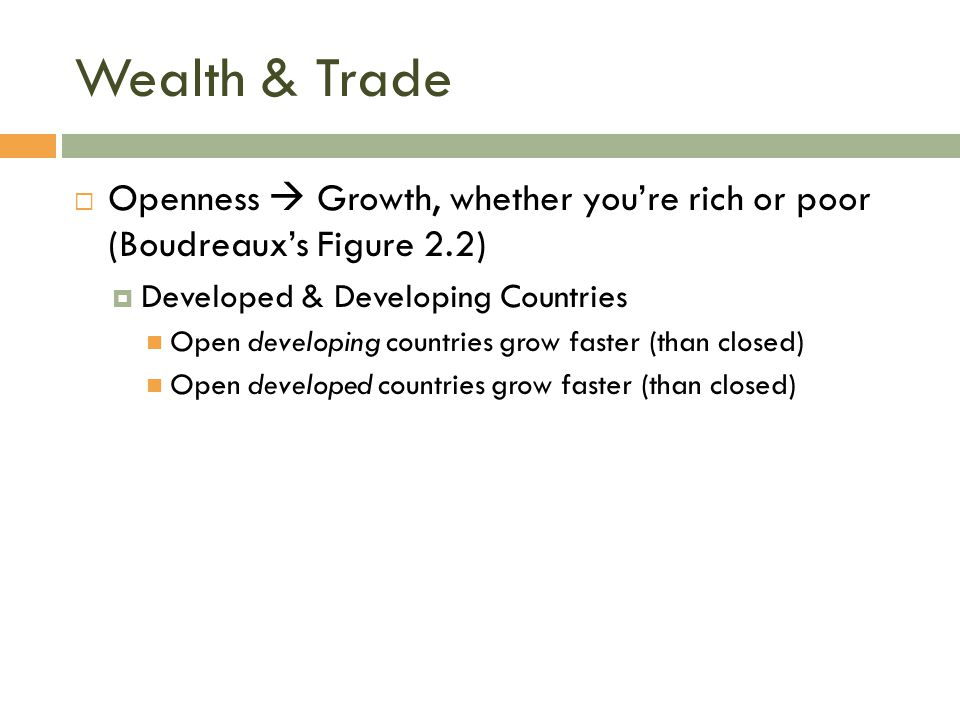Wealth & Trade Openness  Growth, whether you're rich or poor (Boudreaux's Figure 2.2) Developed & Developing Countries.
