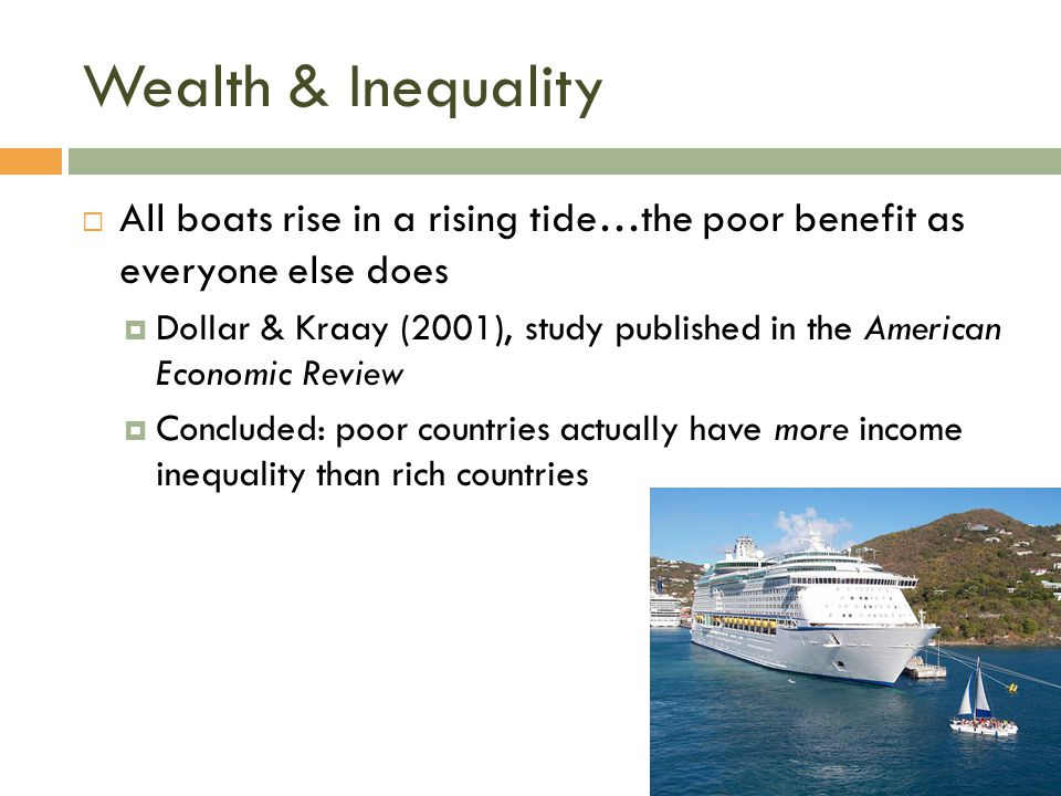 Wealth & Inequality All boats rise in a rising tide…the poor benefit as everyone else does.