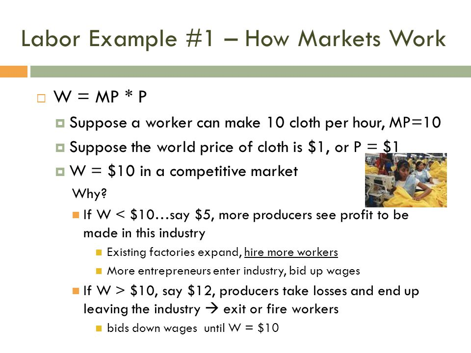 Labor Example #1 – How Markets Work