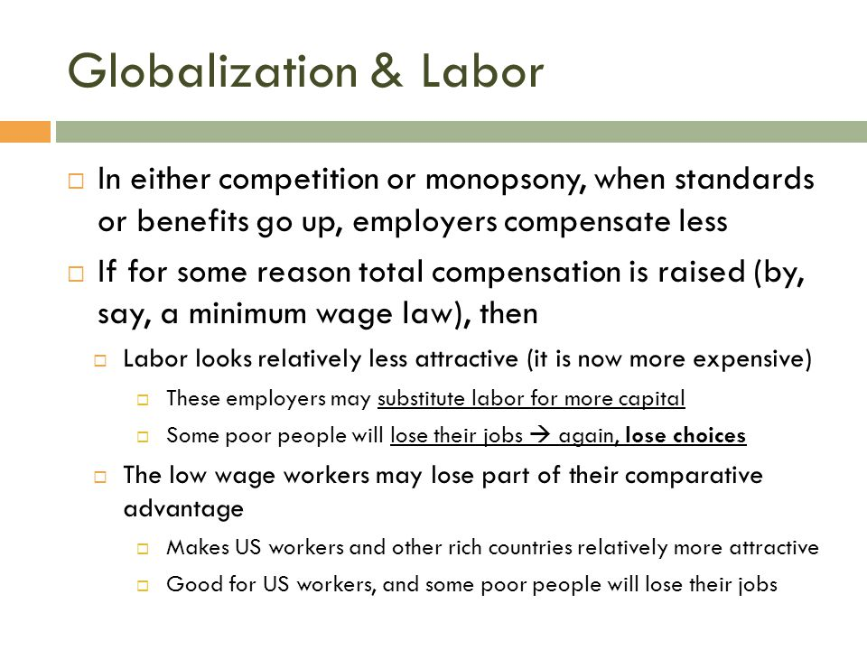 Globalization & Labor In either competition or monopsony, when standards or benefits go up, employers compensate less.