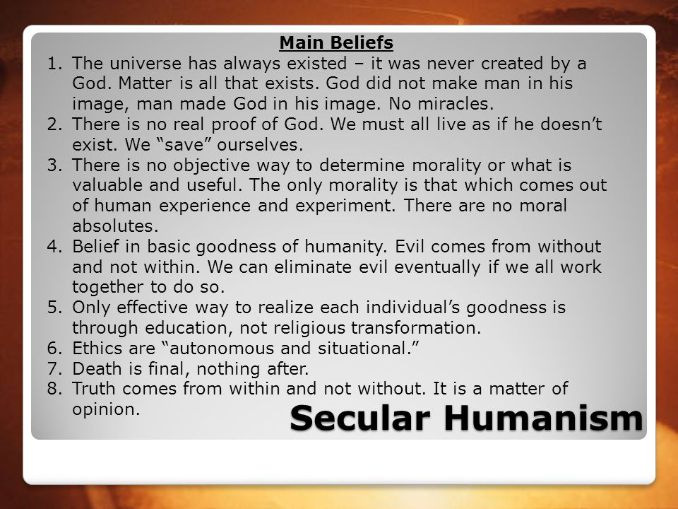 Secular Humanism Main Beliefs